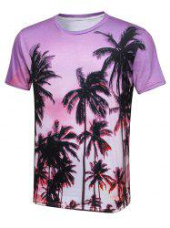 Palm Tree 3D ras du cou imprimé T-shirt
