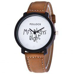 Mrs Always Right Faux Leather Strap Watch