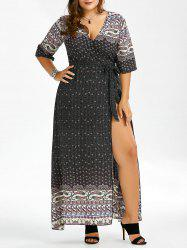 Plus Size Floor Length Print Dress