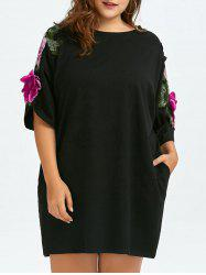 Plus Size 3D Floral Embroidered Tee Dress With Pockets