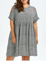 Plus Size Cold Shoulder Stripe Casual Dress