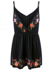 Plus Size Embroidery Plunging Tank Top