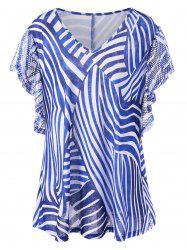 Zebra Stripes Plus Size T-Shirt with Rhinestone