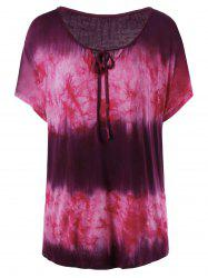 Keyhole Neck Plus Size Tie Dye T-Shirt