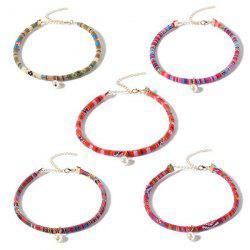 Ethnic Embroidery Faux Pearl Choker Necklace Set