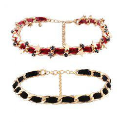Chain Star Velvet Choker Necklace Set