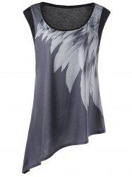 Graphic Asymmetric Plus Size Tank Top