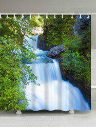 Waterfall Landscape Shower Curtain with Hooks Rings