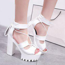 Platform Block Heel Tie Up Sandals