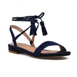 Tassels Suede Tie Up Sandals