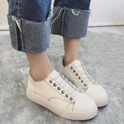 Stitching Faux Leather Athletic Shoes