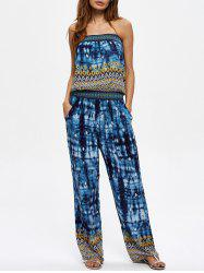 Tie Dye Strapless Jumpsuit with Pockets - BLUE XL