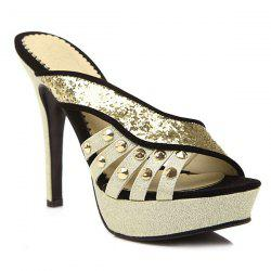 Sequined Metal Rivets Slippers