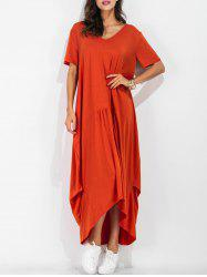 Maxi Asymmetric Short Sleeve Casual Dress