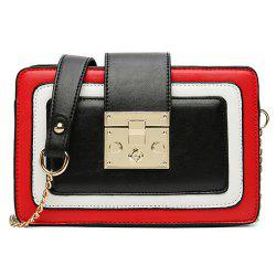Metal Detail Color Block Crossbody Bag