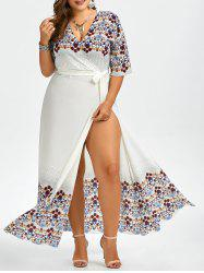 Plus Size Chiffon Floral Floor Length Dress
