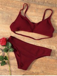 Cross Back Padded 2 Pieces Bikini Swimwear - WINE RED