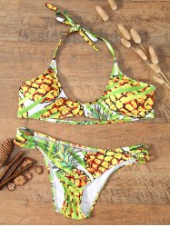 Stripy Back Halter Pineapple Bikini
