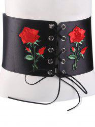 Lace Up Floral Embroidered Corset Belt - BLACK