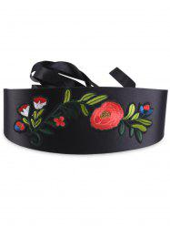 Floral Embroidered High Waist Corset Belt - BLACK