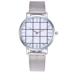 Steel Mesh Band Grid Face Quartz Watch