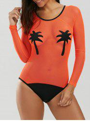 See-Through Mesh Coconut Tree Swimwear