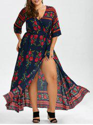 Plus Size Floral Floor Length V Neck Dress