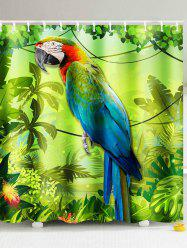3D Parrot and Palm Print Shower Curtain