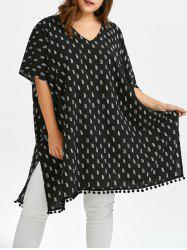 Plus Size Batwing Sleeve Print Top