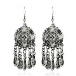 Alloy Circle Engraved Flower Teardrop Earrings