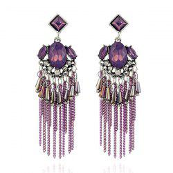 Faux Gemstone Geometric Fringed Chain Earrings