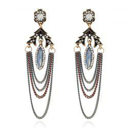 Vintage Rhinestone Fringed Chain Earrings