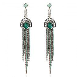 Artificial Emerald Fringed Chain Earrings