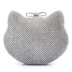 Rhinestone Cat Head Shaped Evening Bag