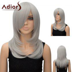 Adiors Inclined Bang Long Tail Adduction Straight Cosplay Anime Wig - SILVER WHITE