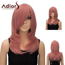 Adiors Inclined Bang Long Tail Adduction Straight Cosplay Anime Wig - PINK SMOKE