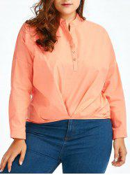 Plus Size Linen V Neck  High Low Shirt