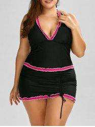 Plus Size Halter Padded Bathing Suit - ROSE MADDER
