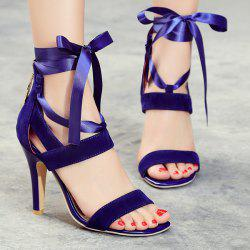 Suede Ribbon Zipper Sandals