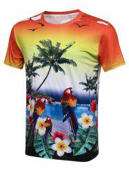 Palm Tree Bird 3D Print Hawaiian T-Shirt - COLORMIX