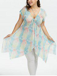 Plus Size Raglan Sleeve Floral Handkerchief Top