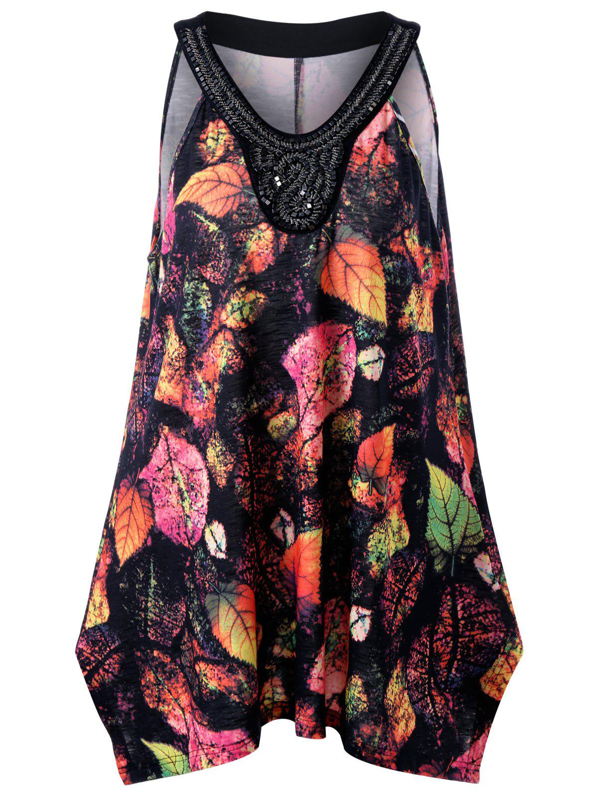 Outfits Plus Size Leaf Printed Beadings Sleeveless Swing Top