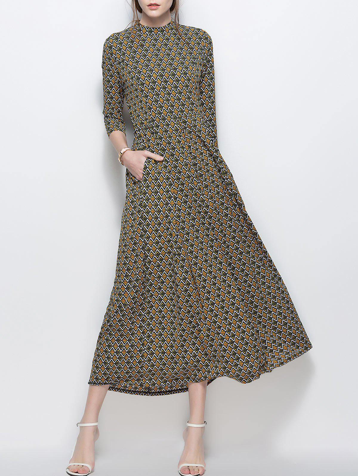 Trendy A Line Printed Chiffon Maxi Dress with Pockets