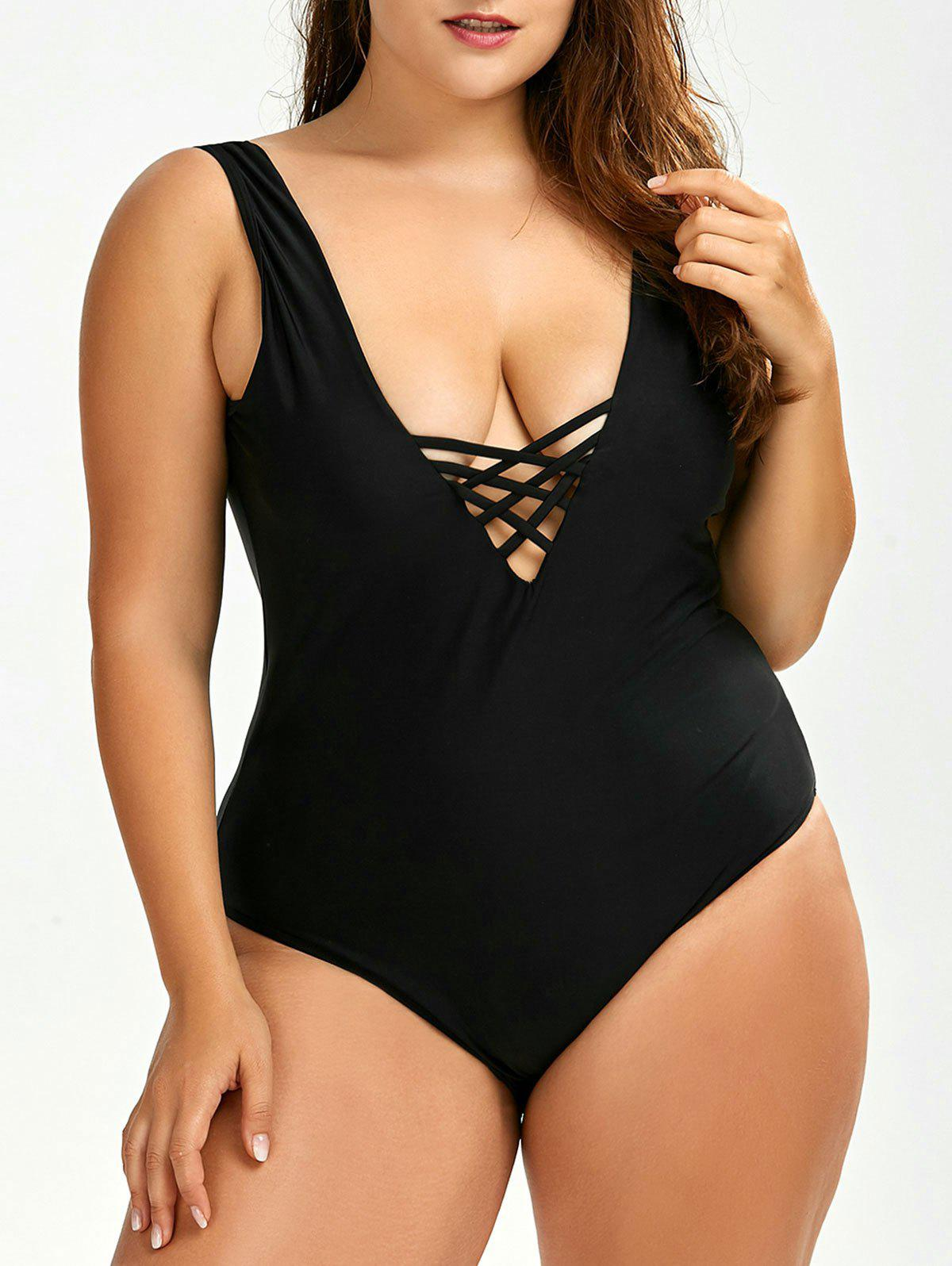 Plus Size Backless SwimwearWOMEN<br><br>Size: 2XL; Color: BLACK; Gender: For Women; Swimwear Type: One Piece; Material: Polyester; Bra Style: Padded; Support Type: Wire Free; Pattern Type: Polka Dot; Waist: Natural; Elasticity: Micro-elastic; Weight: 0.2000kg; Package Contents: 1 x Swimwear;