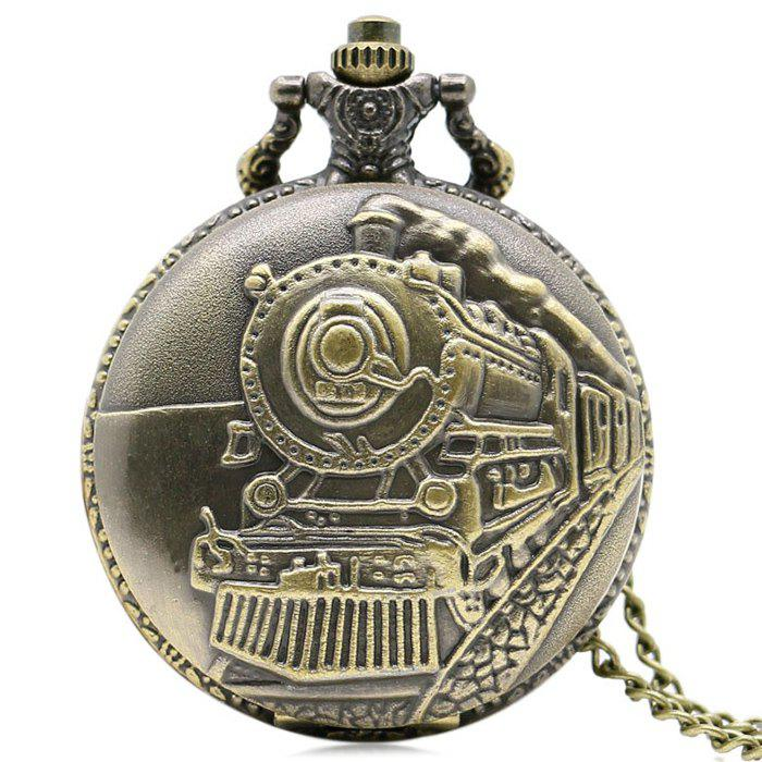 Steam Train Carved Number Vintage Pocket WatchJEWELRY<br><br>Color: GOLDEN; Gender: For Unisex; Style: Classics; Type: Quartz watch; Index Dial: Analog; Case material: Alloy; Band material: Alloys; Movement: Quartz; Dial Shape: Round; Water-Proof: No; Case Thickness(MM): 15mm; Dial Diameter: 4.8cm; Band Length(CM): 80cm; Package Contents: 1 x Watch;