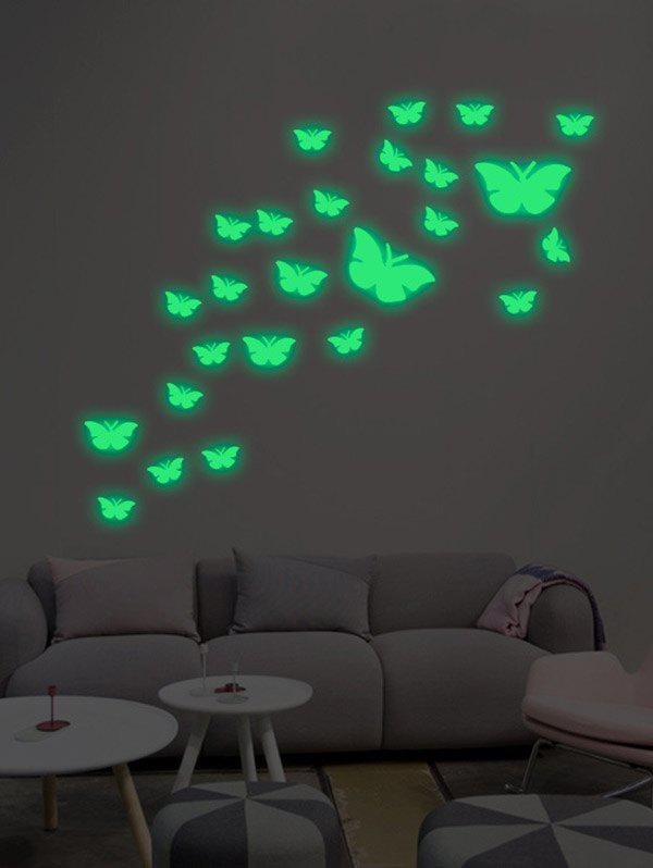 25Pcs/Set Butterflies Luminous Art Stickers For WallHOME<br><br>Color: NEON GREEN; Wall Sticker Type: Plane Wall Stickers; Functions: Decorative Wall Stickers; Theme: Animals; Material: PVC; Feature: Removable; Weight: 0.2400kg; Package Contents: 1 x Wall Stickers ?25Pcs/Set?;
