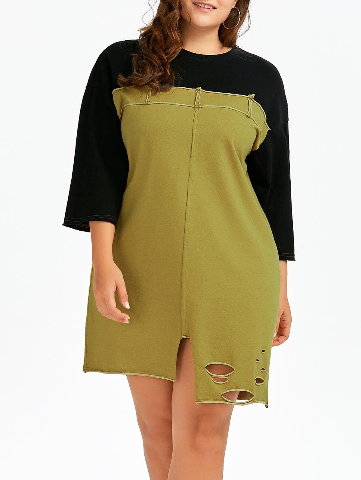 Earthy One Size Plus Size Ripped Colorblock T Shirt Dress