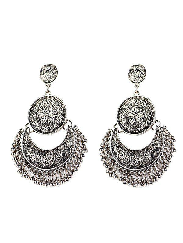 Fashion Vintage Engraved Flower Moon Beads Earrings