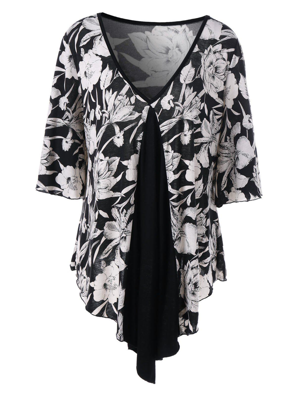 Plus Size V Neck Asymmetric Floral T-ShirtWOMEN<br><br>Size: 4XL; Color: BLACK; Material: Polyester,Spandex; Shirt Length: Regular; Sleeve Length: Half; Collar: V-Neck; Style: Casual; Season: Summer; Pattern Type: Floral; Weight: 0.3900kg; Package Contents: 1 x T-Shirt;