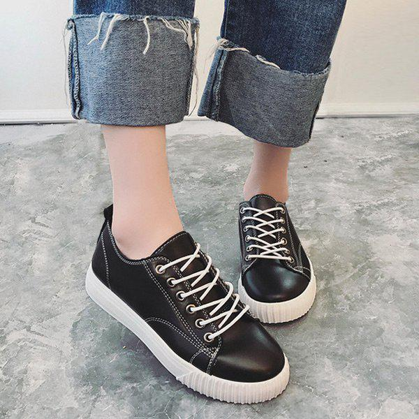 Trendy Stitching Faux Leather Athletic Shoes